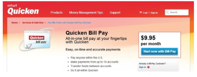 quicken bill pay login