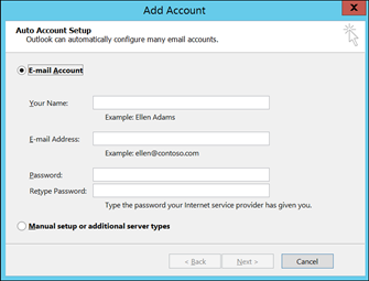 Adding Outlook in the Mail Account