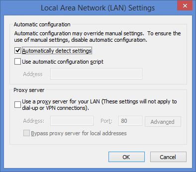 """each out to the """"LAN Settings"""" and tick """"Automatically""""."""