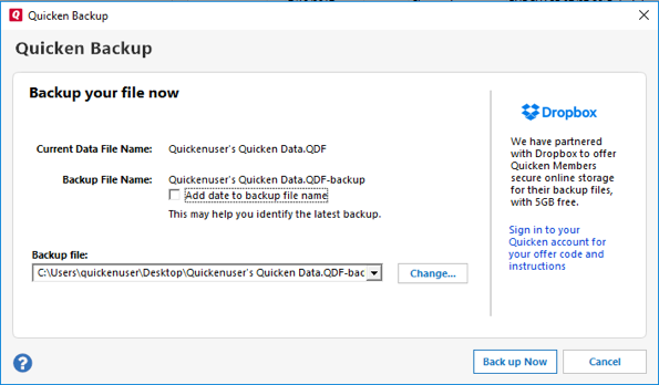 Create a File Backup of Quicken Data