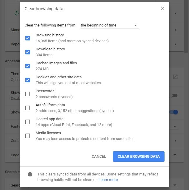 Method 2: Deleting All Browsing History