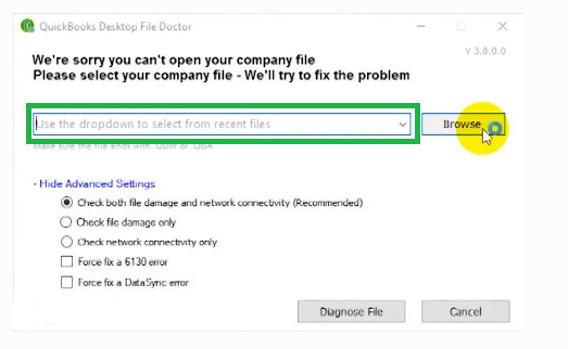 """""""Check File Damage"""" followed by tapping on """"Diagnose File"""