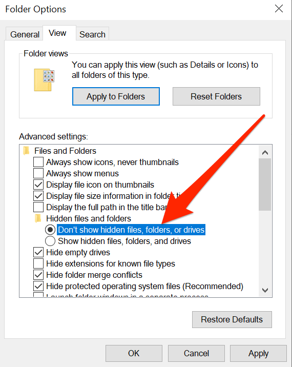 """n """"View"""" and then click """"Hidden Item"""