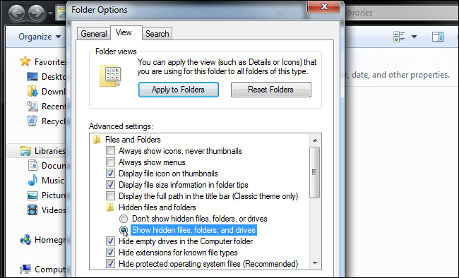 you need to go to the hidden files and folders.