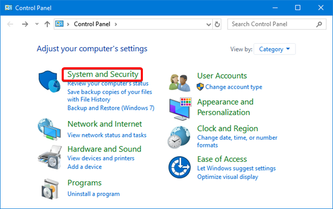 """hit on """"System Security""""."""